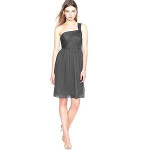 JCrew One Shoulder Chiffon Bridesmaid Dress Gray